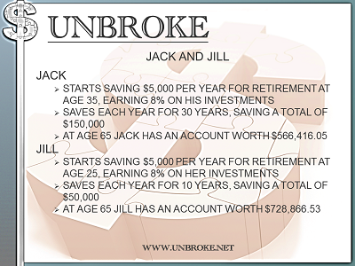 Get UNBROKE - Jack and Jill - 10 year v. 30 years savings