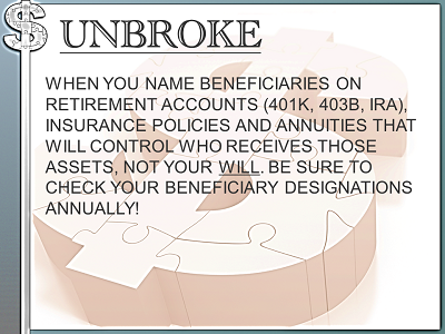 Get UNBROKE - naming benes over will
