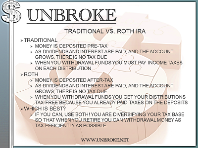 Get UNBROKE - Roth v Traditional IRA