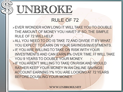 Get UNBROKE - Rule of 72