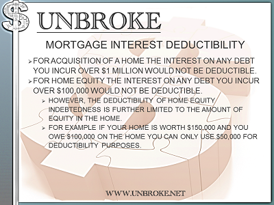 Get UNBROKE -Deductibility of mortgage interest